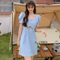 Dress Summer 2021 Blue, black S, M Middle-skirt singleton  Short sleeve commute square neck High waist Solid color Socket A-line skirt puff sleeve 18-24 years old Type A Korean version