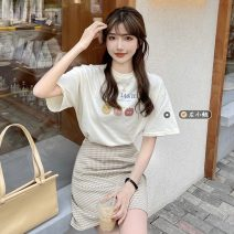 Fashion suit Summer 2021 S. M, average size White T-shirt, apricot T-shirt, black skirt, apricot skirt 18-25 years old