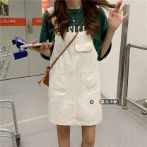 Dress Summer 2021 white S,M,L,XL Short skirt singleton  Sleeveless commute other Loose waist Solid color other A-line skirt other straps 18-24 years old Type H Korean version pocket