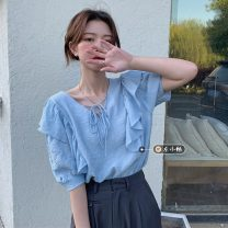 shirt Light blue, white Average size Summer 2021 other 30% and below Short sleeve commute Regular V-neck Socket puff sleeve Solid color 18-24 years old Straight cylinder Korean version Lotus leaf edge