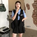 Fashion suit Summer 2021 S. M, l, average size Grey Vest + skirt, Black Vest + skirt, white shirt, blue shirt 18-25 years old