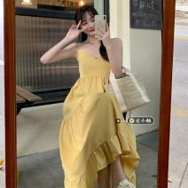 Dress Summer 2021 Yellow, black Average size longuette singleton  Long sleeves commute V-neck High waist Solid color other A-line skirt routine camisole 18-24 years old Type A Korean version