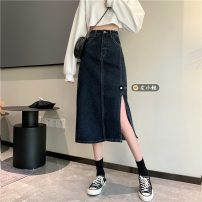 skirt Spring 2021 S,M,L blue Mid length dress Versatile High waist A-line skirt Solid color Type H 18-24 years old 30% and below other other