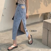 skirt Summer 2021 S,M,L,XL Blue, black and gray Mid length dress commute High waist Irregular letter Type A 18-24 years old Korean version