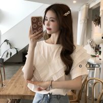 T-shirt white Average size Summer 2021 Short sleeve Crew neck Straight cylinder Regular routine commute other 30% and below 18-24 years old Korean version youth Solid color Stitching, ruffles