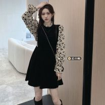 Dress Spring 2021 Black long, black short S,M,L singleton  Long sleeves commute stand collar High waist Broken flowers A-line skirt pagoda sleeve Others 18-24 years old Type A Korean version