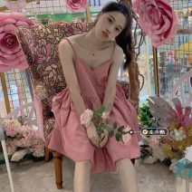 Dress Summer 2021 Picture color Average size Short skirt singleton  Sleeveless commute V-neck High waist lattice Socket A-line skirt routine camisole 18-24 years old Type A Korean version 30% and below other other