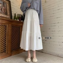 skirt Summer 2021 Average size White, black Mid length dress commute High waist Cake skirt Solid color Type A 18-24 years old 30% and below other other Korean version