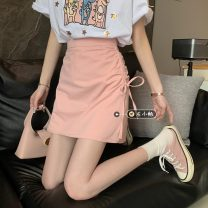 skirt Summer 2021 S,M,L White, pink, black Short skirt commute High waist A-line skirt Solid color Type A 18-24 years old 30% and below other other Korean version