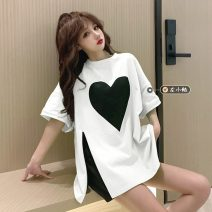 T-shirt White, green, blue, black Average size Summer 2021 Short sleeve Crew neck Straight cylinder Regular routine commute other 30% and below 18-24 years old Korean version youth printing