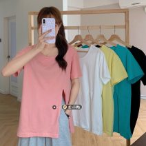 T-shirt White, yellow, black, pink, lake green Average size Summer 2021 Short sleeve Crew neck easy Medium length routine commute other 30% and below 18-24 years old Korean version youth Solid color Asymmetry