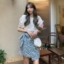 Fashion suit Summer 2021 Average size White T-shirt, green skirt, blue T-shirt, purple skirt 18-25 years old