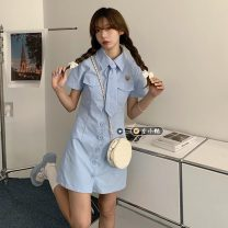 Dress Summer 2021 Green, blue, black, pink S,M,L Middle-skirt singleton  Short sleeve commute Polo collar middle-waisted Solid color Single breasted A-line skirt routine 18-24 years old Type A Korean version
