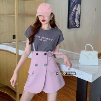 Fashion suit Summer 2021 S. M, average size Light grey (T-shirt), dark grey (T-shirt), pink (skirt), black (skirt) 18-25 years old