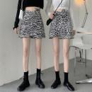 skirt Spring 2021 S,M,L,XL Leopard, zebra Short skirt commute High waist A-line skirt Type A 18-24 years old Korean version