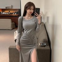 Dress Summer 2021 Gray, black Average size longuette singleton  Long sleeves commute Crew neck High waist Solid color Socket One pace skirt routine Others 18-24 years old Type A Korean version 30% and below other other