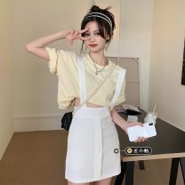 Dress Spring 2021 White, black S,M,L,XL Short skirt singleton  commute High waist Solid color A-line skirt straps 18-24 years old Type A Korean version straps