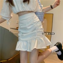 skirt Summer 2021 S,M,L White, black Short skirt commute High waist Pleated skirt Solid color Type A 18-24 years old Pleated, zipper Korean version