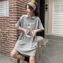 Dress Summer 2021 Gray, black Average size Short skirt singleton  Short sleeve commute other High waist Solid color Socket A-line skirt routine 18-24 years old Type H Korean version Pleats, zippers