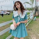 Dress Summer 2021 Purple, black, Nilan Average size Short skirt singleton  Short sleeve commute Doll Collar High waist Solid color Single breasted A-line skirt routine Others 18-24 years old Type A Korean version 30% and below other other