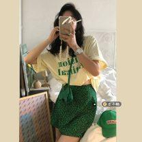 skirt Summer 2021 Average size Yellow T-shirt, green skirt s, green skirt M Short skirt commute High waist A-line skirt Leopard Print Type A 18-24 years old Korean version