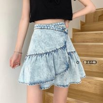 skirt Summer 2021 S,M,L Lake blue Short skirt commute High waist Ruffle Skirt other Type A 18-24 years old 30% and below other other Korean version