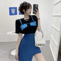 Fashion suit Summer 2021 S. M, average size Black T-shirt , White T-shirt , Black skirt , Blue skirt 18-25 years old
