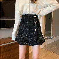 skirt Spring 2021 S,M,L Apricot, black Short skirt Versatile High waist skirt lattice Type A 18-24 years old