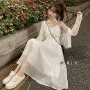 Dress Summer 2021 White T-shirt, suspender skirt M. L, average size longuette singleton  Sleeveless Sweet V-neck High waist Solid color A-line skirt camisole 18-24 years old Type A Ruili