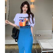 Fashion suit Summer 2021 Average size White T-shirt, black T-shirt, black skirt s, Black Skirt M, blue skirt s, Blue Skirt M 18-25 years old