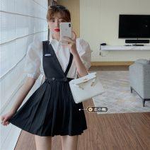 Fashion suit Summer 2021 S. M, average size White shirt, black strap skirt 18-25 years old