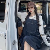 Dress Summer 2021 Light blue, blue gray Average size Mid length dress singleton  Sleeveless commute other Loose waist Solid color Socket A-line skirt routine straps 18-24 years old Type A Korean version 30% and below other other