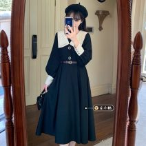 Dress Spring 2021 black S,M,L Mid length dress singleton  Long sleeves commute V-neck High waist Solid color Socket A-line skirt routine 18-24 years old Type A Korean version Splicing 30% and below other