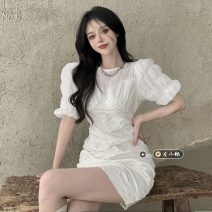 Dress Summer 2021 White, black S,M,L Short skirt singleton  Short sleeve commute Crew neck High waist Solid color other One pace skirt puff sleeve 18-24 years old Type A Korean version Fold, splice 30% and below other other