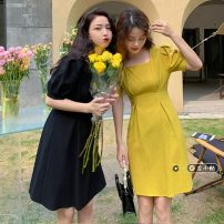 Dress Summer 2021 Yellow, black S (80-100kg), m (100-120kg) Middle-skirt singleton  Short sleeve commute square neck High waist Solid color Socket A-line skirt puff sleeve 18-24 years old Type A Korean version 30% and below other other