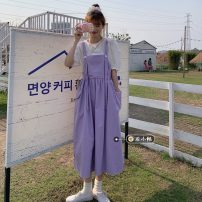 Dress Summer 2021 White, violet, Navy, Berry Pink Average size Mid length dress singleton  Sleeveless commute other Loose waist Solid color Socket A-line skirt routine straps 18-24 years old Type A Korean version 30% and below other other