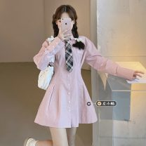 Dress Summer 2021 Pink shirt with tie S, M Short skirt singleton  Short sleeve commute Polo collar High waist Solid color Single breasted A-line skirt routine Others 18-24 years old Type A Korean version 30% and below other other