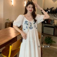 Dress Summer 2021 white Average size Mid length dress singleton  Short sleeve commute other High waist other Socket A-line skirt puff sleeve 18-24 years old Type A Korean version 30% and below other other