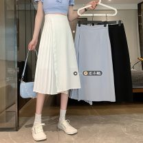 skirt Summer 2021 S,M,L Gray, white, black Mid length dress commute High waist Irregular Solid color Type A 18-24 years old 30% and below other other Korean version