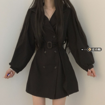 Dress Spring 2021 Black, pink, light, dark Average size Short skirt singleton  Long sleeves commute tailored collar middle-waisted Solid color double-breasted A-line skirt routine Others 18-24 years old Type A Korean version 30% and below other