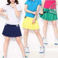 Sports skirt Red, green, black, rose, yellow, white, sky blue, sapphire blue Beautiful move female L (adult), XL (adult), 2XL, 3XL, 4XL, 5XL Summer 2016 Sports & Leisure Women's tennis polyester fiber