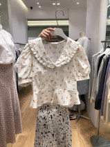 shirt White, yellow S,M,L,XL Summer 2021 other 31% (inclusive) - 50% (inclusive) Short sleeve commute Regular Doll Collar Single row multi button routine Broken flowers 18-24 years old Straight cylinder Korean version