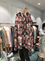 skirt Summer 2021 S,M,L,XL Black, apricot Mid length dress commute High waist Umbrella skirt Broken flowers Type A 18-24 years old 31% (inclusive) - 50% (inclusive) other cotton Korean version