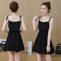 Dress Winter of 2018 black XL,L,M,XXL Middle-skirt singleton  Sleeveless commute Crew neck middle-waisted Solid color Socket A-line skirt routine Others 18-24 years old Splicing 8918 little black dress 81% (inclusive) - 90% (inclusive) other polyester fiber