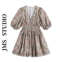 Dress Summer 2021 Picture color S,M,L Short skirt singleton  Short sleeve commute V-neck High waist Decor Socket A-line skirt puff sleeve Others 18-24 years old Type A Korean version printing