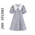 Dress Summer 2021 Blue check S,M,L Short skirt singleton  Short sleeve commute Doll Collar High waist lattice Single breasted A-line skirt routine Others 18-24 years old Type A Korean version 81% (inclusive) - 90% (inclusive) other other