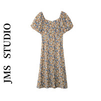Dress Summer 2021 Graphite blue XS,S,M,L Mid length dress singleton  Short sleeve commute square neck High waist Broken flowers Socket A-line skirt bishop sleeve Others 18-24 years old Type A Korean version 81% (inclusive) - 90% (inclusive)