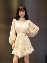 Dress Spring 2021 Off white, black, red 6,8,10 Short skirt singleton  Long sleeves commute stand collar High waist Solid color zipper puff sleeve 25-29 years old fold More than 95%
