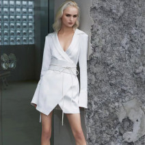 Dress Spring 2021 White, black S,M,L Short skirt singleton  Long sleeves commute V-neck High waist Solid color Single breasted Irregular skirt pagoda sleeve 25-29 years old Button, lace up, fold More than 95%