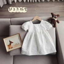 Dress white female Other / other 90cm, 100cm, 110cm, 120cm, 130cm, 7 (90-100cm), 9 (100-105cm), 11 (105-115cm), 13 (115-120cm), 15 (120-130cm) Other 100% spring and autumn Korean version Short sleeve Solid color other A-line skirt Chinese Mainland